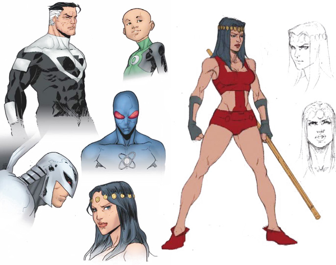 Bocetos de Iban Coello para Batman Beyond Universe
