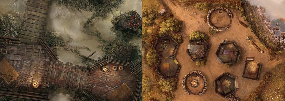 Dos de los múltiples emplazamientos en los que se desarrollarán los escenarios del juego: poblados pictos, templos subterraneos, una taberna o incluso un barco pirata.